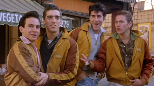 Left to right: John Friedrich as Joey, Ken Wahl as Richie, Tony Ganios as Perry and Jim Youngs as Buddy. Eugene Caputo was removed entirely.