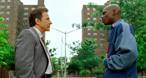 Rocco (Harvey Keitel) and Strike (Mekhi Phifer) in Clockers