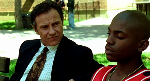 "Det. Rocco Klein (Harvey Keitel) and ""Strike"" Dunham (Mekhi Phifer) in Spike Lee's film adaptation of Clockers"